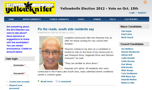 Online News Site for Yellowknife City Council Election