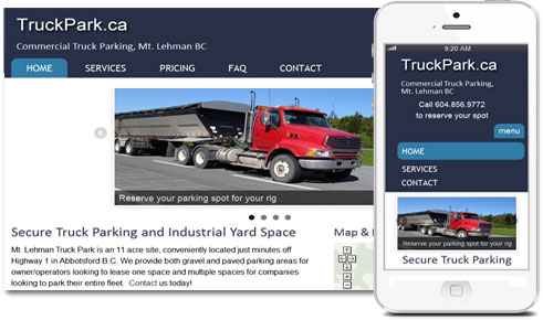 Mobile-friendly, Responsive Design for Commercial Truck Parking Site, www.TruckPark.ca