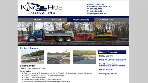 king hoe requested a simple design featuring banner photos for their small business brochure site features of the site include the project gallery with 3 5
